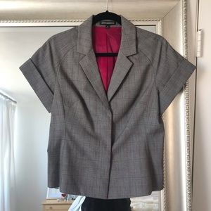 Grey + Pink Plaid Express Design Studio Blazer